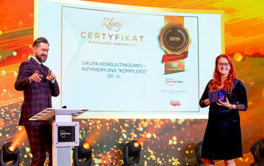 Otrzymaliśmy Złoty Certyfikat Rzetelności Płatniczej 2019